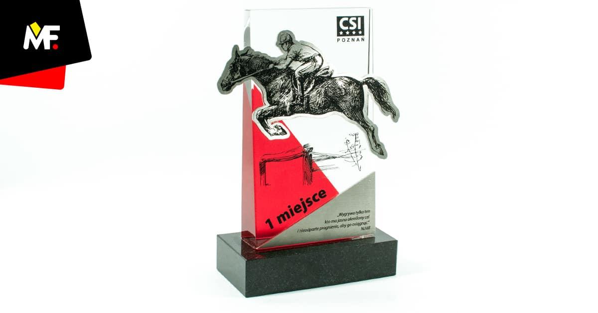 Statuetka jeździecka ze stali i szkła