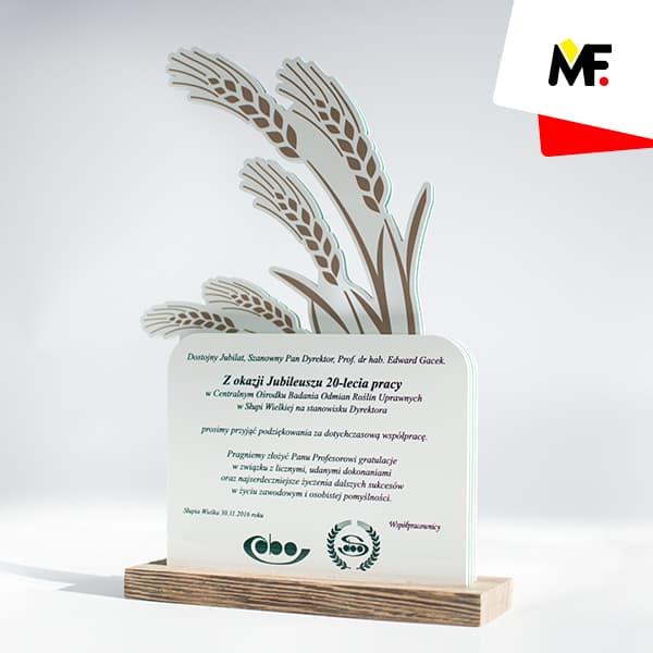 Statuetka na jubileusz 20-lecia pracy w Centralnym Ośrodku Badania Odmian Roślin Uprawnych
