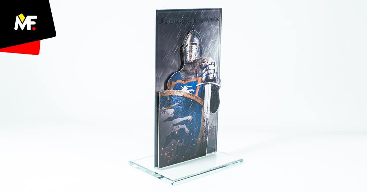 Statuetka rycerz, ze stali i szkła, produkcja Modern Forms