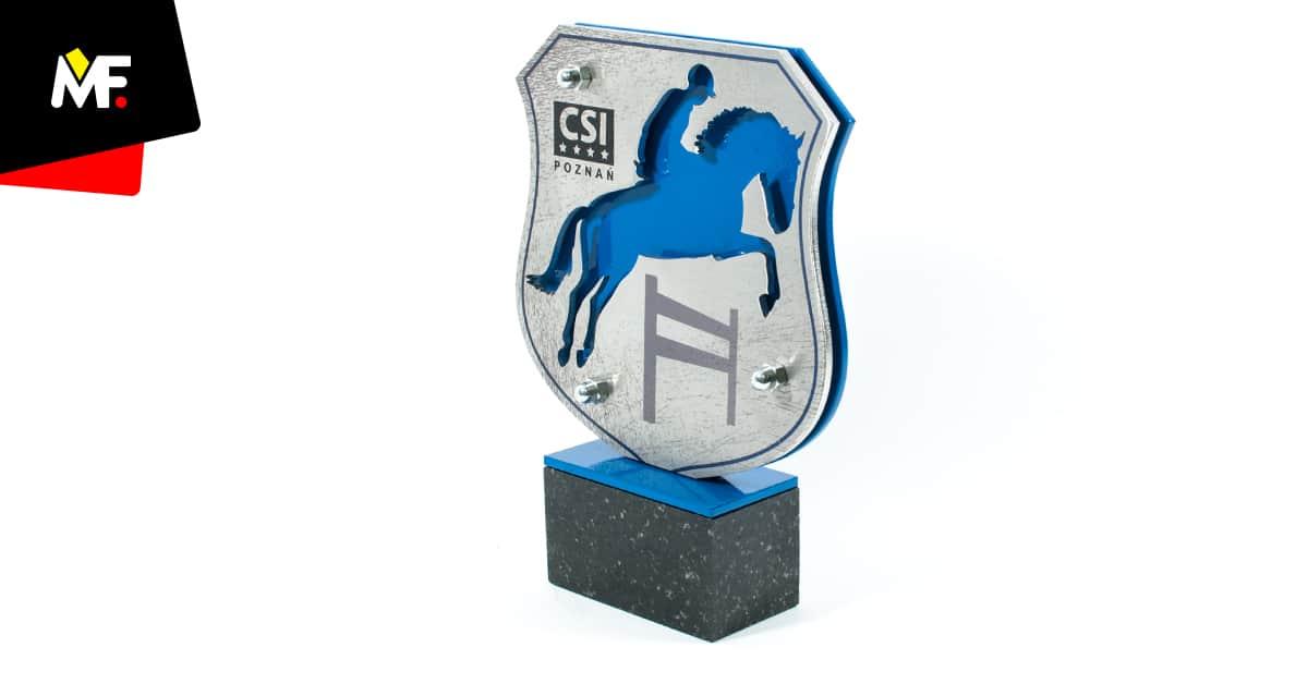 Statuetka na zawody jeździeckie, ze stali, z kamienną podstawą