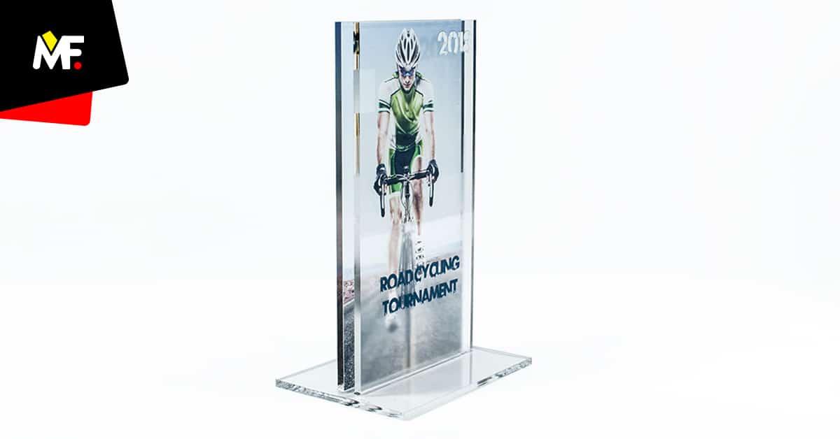 Statuetka rowerowa prostokątna szklana