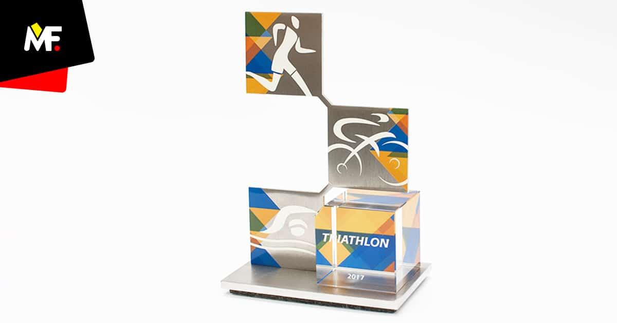 Statuetka sportowa triathlon geometryczna bryła