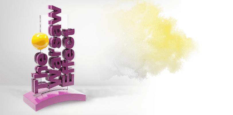 Statuetka 3D, przestrzenny napis: The Warsaw effect