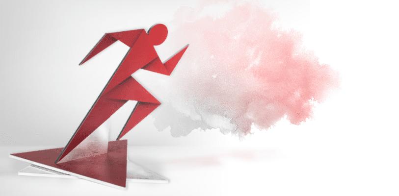 Statuetka sportowa, sylwetka biegacza przypominająca technikę origami