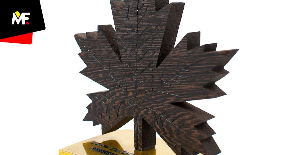 Statuetka w kształcie liścia wycinana Water Jetem